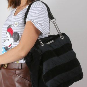 JUICY COUTURE Black Striped Velvet Chain Tote Bag